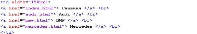 Меню html
